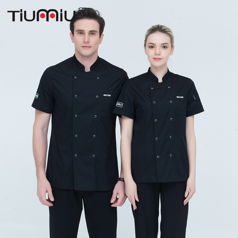 4 Colors M-4XL Wholesale High Quality Unisex Short-sleeve Double Breasted Kitchen Workwear Chef Jacket Restaurant Bakery Uniform
