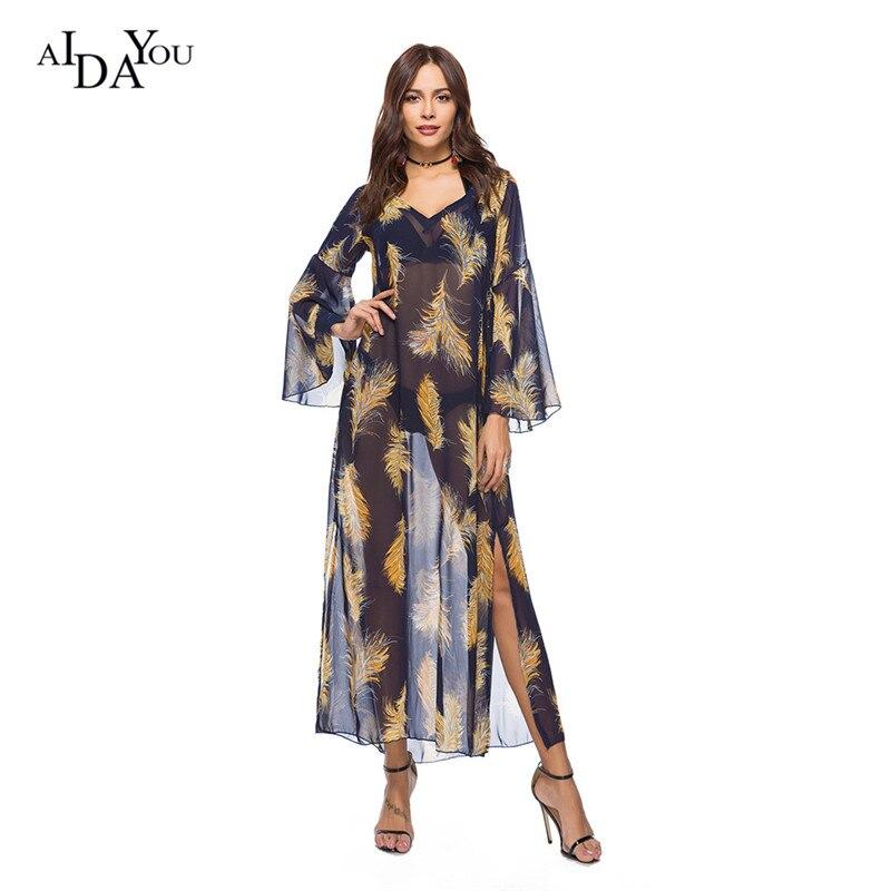 AIDAYOU Mesh Print Long Dress V Neck Loose Casual Beach Bohemian Summer Clother Femme 2018 Women Dresses ouc3124