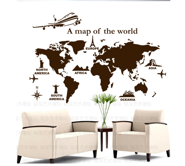 World map personalized drawing room vinyl wallpaper diy wall decals world map personalized drawing room vinyl wallpaper diy wall decals english quotes painting wall art bedroom gumiabroncs Images