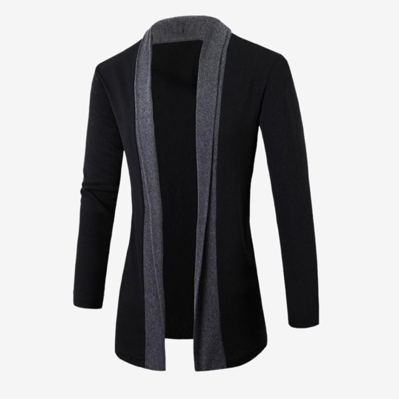 Knitted Mens Long Sleeve Cardigan Patchwork Stand Collar Black Men Sweater Coat Fashion Man Streetwear Clothes Dropshipping
