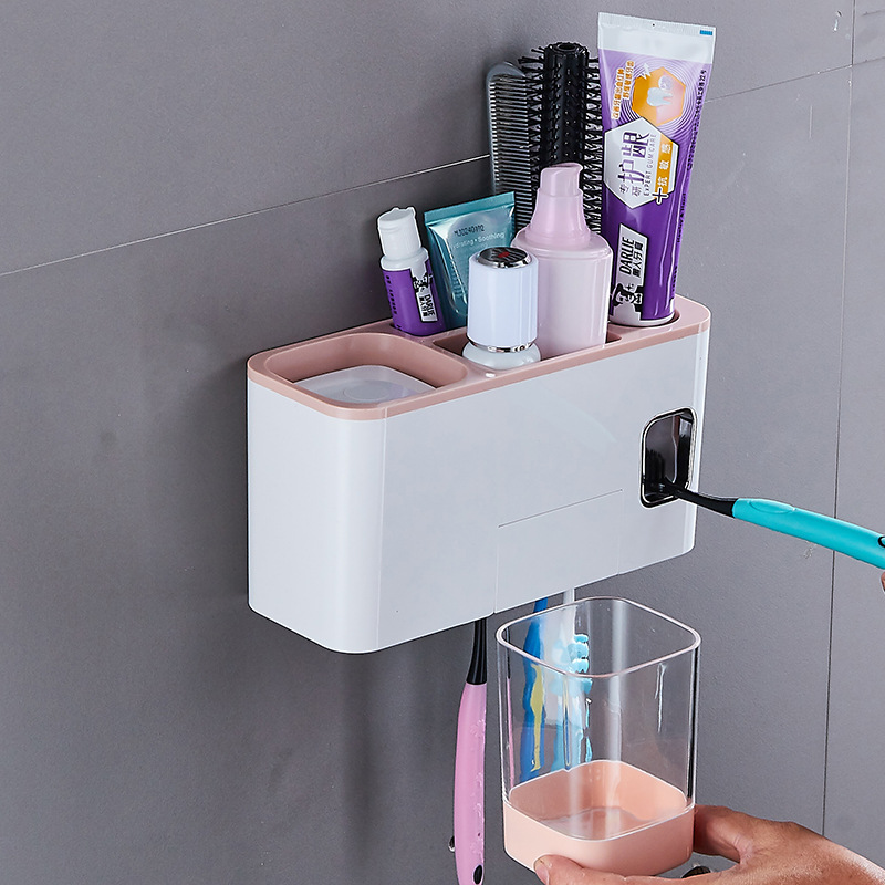 Bathroom Set Creative Automatic Toothpaste Dispenser with Toothbrush Holder Bathroom Water Resistant Sticky Toothpaste Squeezer in Toothbrush Toothpaste Holders from Home Garden