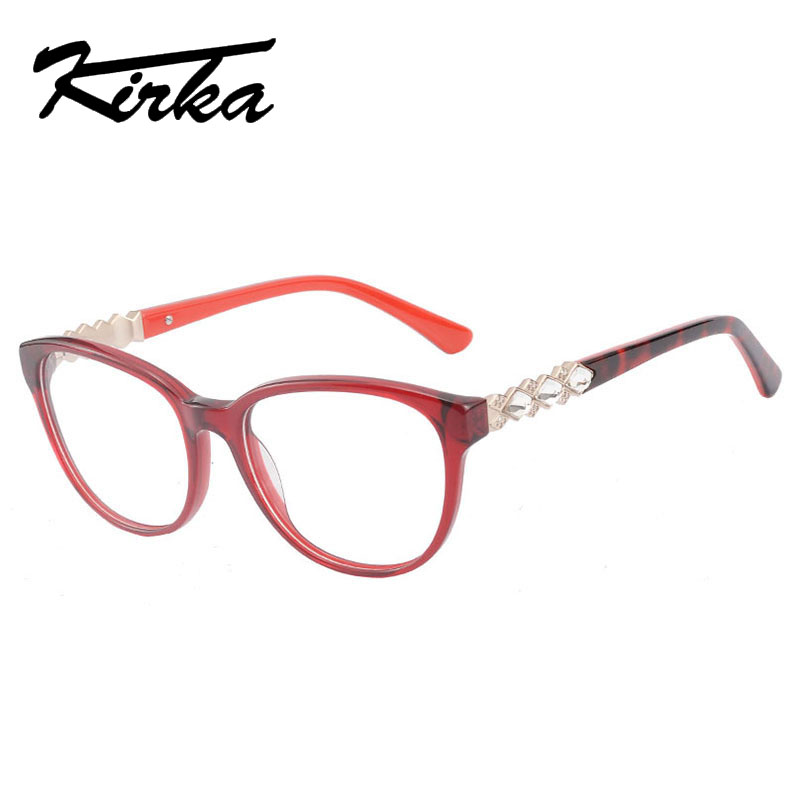 Red color with crystal Cat Glasses Frame Women Fashion Eyeglasses frame computer glasses Clear