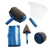 DIY Painting Tool 5Pcs Paint Roller Brush Handle Tool Flocked Edger Home Wall Painting Tool For