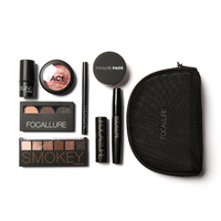 FOCALLURE Makup Tool Kit 8 PCS Including Brows Powder Loose Powder Highlighter Glowing Blush Professional Makeup