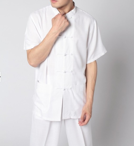 Tendencias de la moda Blanco Kung Fu hombres Cuello Mao Camisa Superior Tang traje clásico de bolsillo botón traje sml xl xxl xxxl 2350