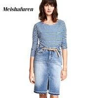 Donna New Arrival Summer Women Blue Denim Skirts Casual Front Split Slim Pencil Skirt High Waist