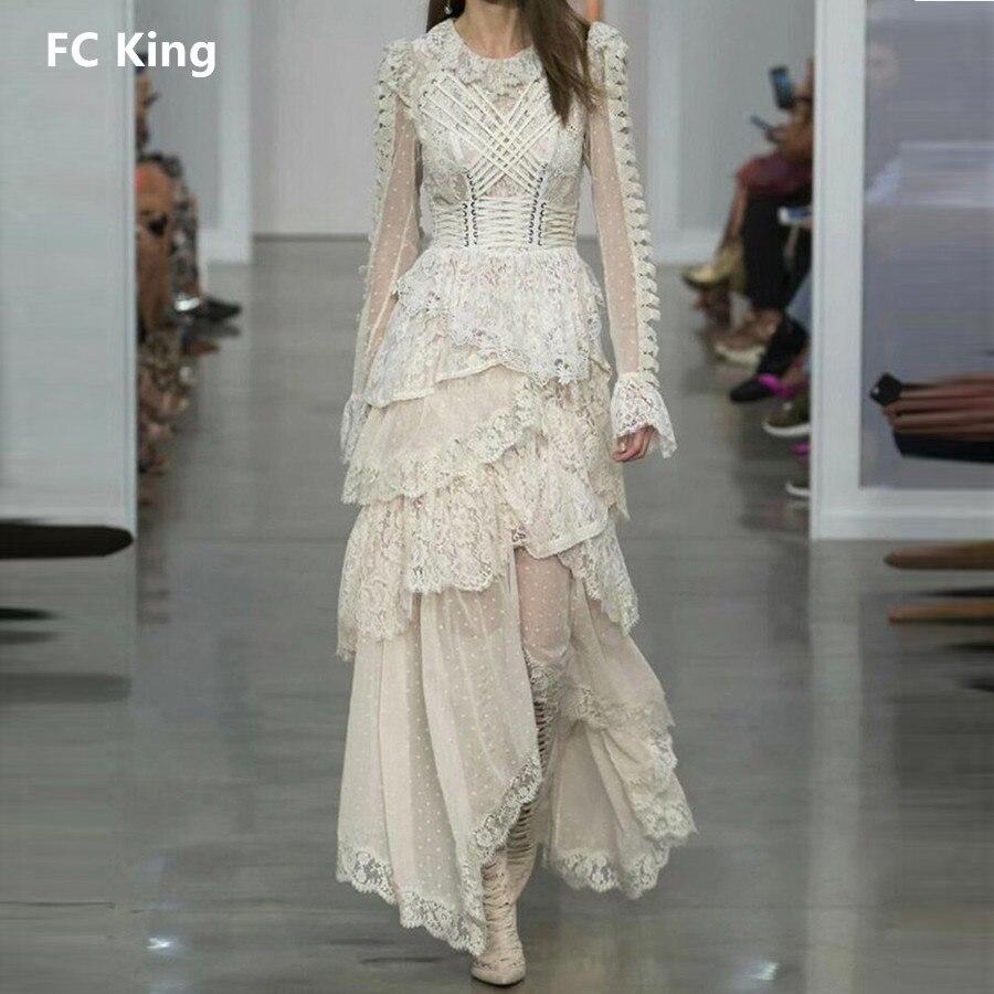 FC King 2018 été Sexy femmes robe maille dentelle évider étage longueur robes Patchwork asymétrique Gentlewomen robe élégante