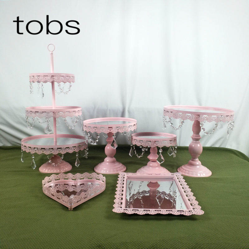 Pink 1 7PCS Dessert Tray 3 tier Cupcake dessert display Decoration tool Wedding Crystal Mirror Cake Stand set in Stands from Home Garden