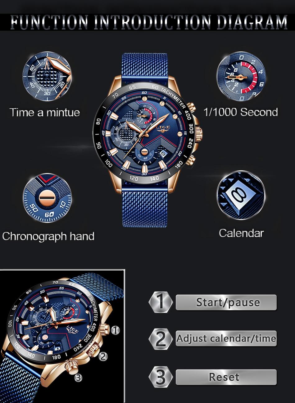 LIGE Fashion Mens Watches Brand Luxury WristWatch Quartz Clock Blue Watch Men Waterproof Sport Chronograph Relogio Masculino