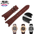 AUTO Watchband Calf Genuine Leather Watch Strap fit for PP Watch NAUTILUS Series Man Black Brown 25*18mm + Free Tools