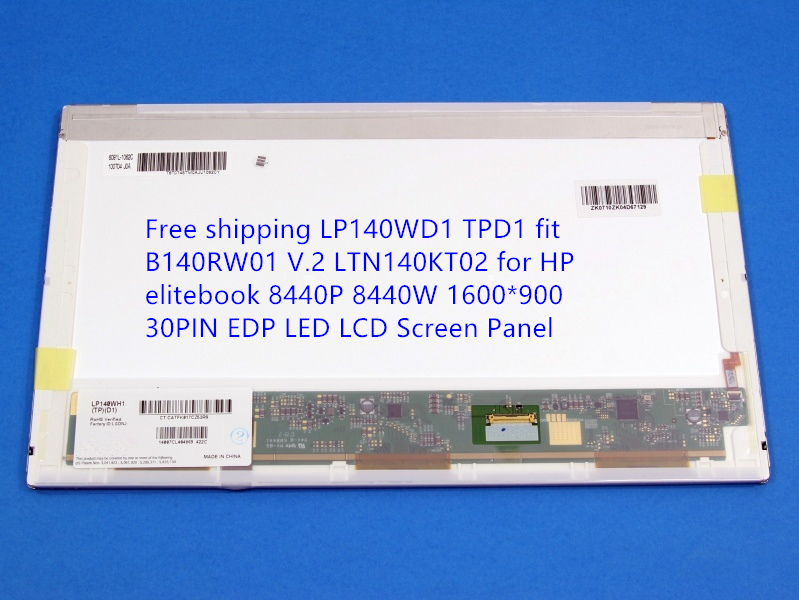 Free shipping LP140WD1 TPD1 fit B140RW01 V.2 LTN140KT02 for HP elitebook 8440P 8440W 1600*900 30PIN EDP LED LCD Screen Panel чехол силиконовый df scase 36 для samsung galaxy j2 prime grand prime 2016 с рамкой серебристый