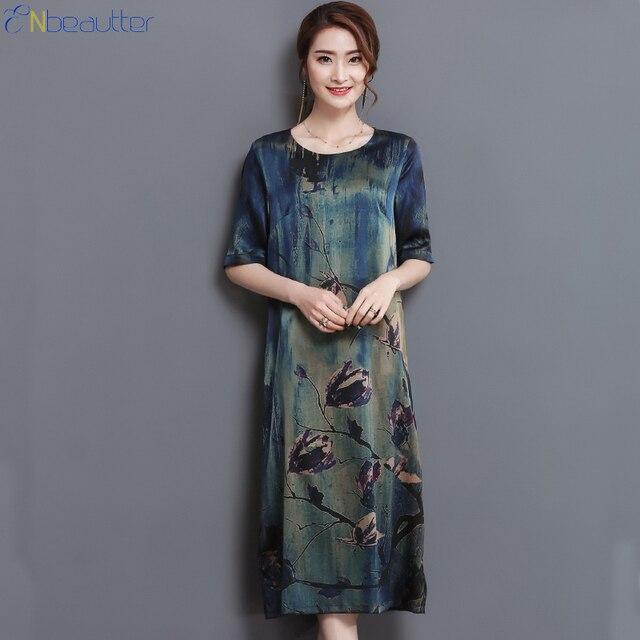 2389d8e1c807 ENbeautter di Mezza Età delle Donne Abito Vintage di Alta Qualità di Seta  Stampa Vestiti Lunghi