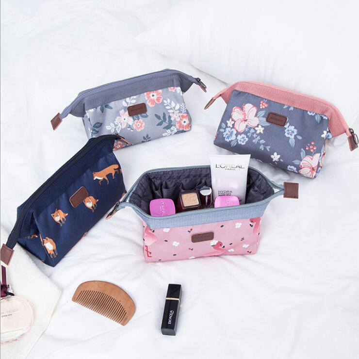 QIAQU Travel Accessories Finishing Cosmetic Bag For Girls Canvas Steel Box Makeupbag Zipper Personalized Portable Portabl