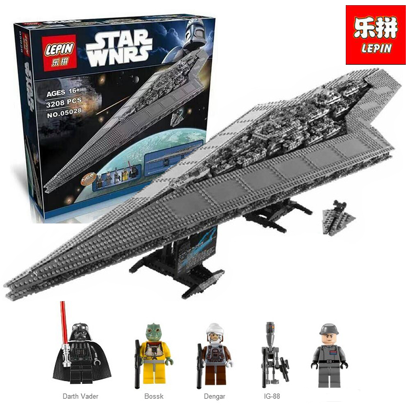 New Lepin 05028 3208pcs Star Set Wars Execytor Super Star Destroyer Model Building Kit Block Brick Toy Compatible legoing 10221 05028 star wars execytor super star destroyer model building kit mini block brick toy gift compatible 75055 tos lepin