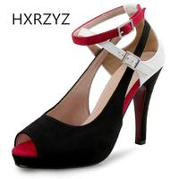 HXRZYZ Large Size Super High Heels Fish Mouth Open Toe Buckle Red Bottoms Shoes Spring Autumn