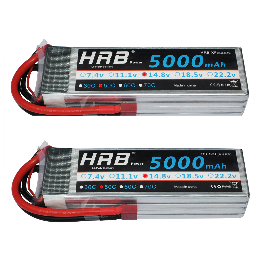 2pcs HRB 14 8V 5000mAh 50C max 100C 4S RC LiPo Battery Bateria for Helicopter Car