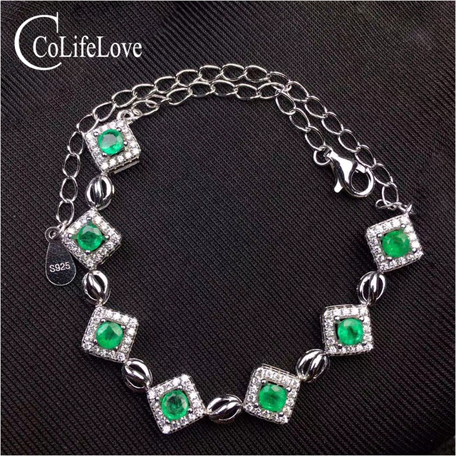 Trendy Silver Emerald Bracelet For Woman 7 Pcs 3 Mm Real Natural Solid
