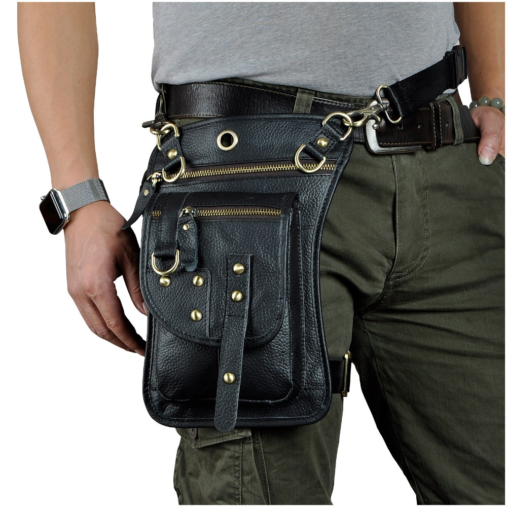 Genuine Leather Design Mens Small Casual Messenger Mochila Bag Fashion Travel Belt Waist Pack Drop Leg Bag Tablets Pouch 2141-b