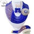 ¡ Superventas! Royal Blue Bolas de Cristal de Champán de Oro Conjuntos de Joyería de Fantasía de boda Nigeriano beads africanos joyería conjunto AAC343