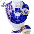 Best Selling! Royal Blue Gold Champagne Crystal Beads Costume Jewelry Sets Nigerian wedding african beads jewelry set AAC343