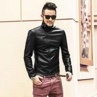 Imitation Leather Jacket Men Motorcycle Jackets Black Leather Slim Short Stand Collar British Jaqueta Couro Masculino