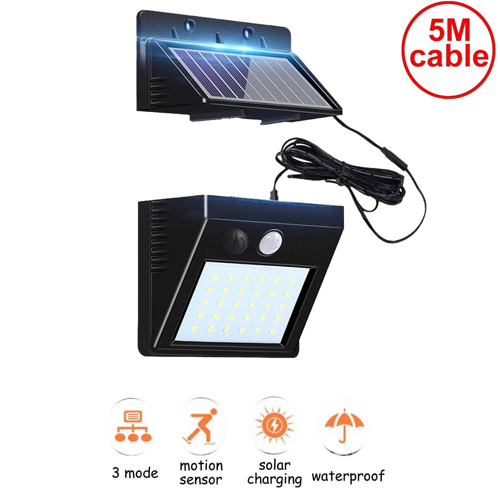 30 LEDs Solar Powered Lights Outdoor Wireless Motion Sensor Security Waterproof Wall Spotlights Street Pathway Lamp With 5M Wire