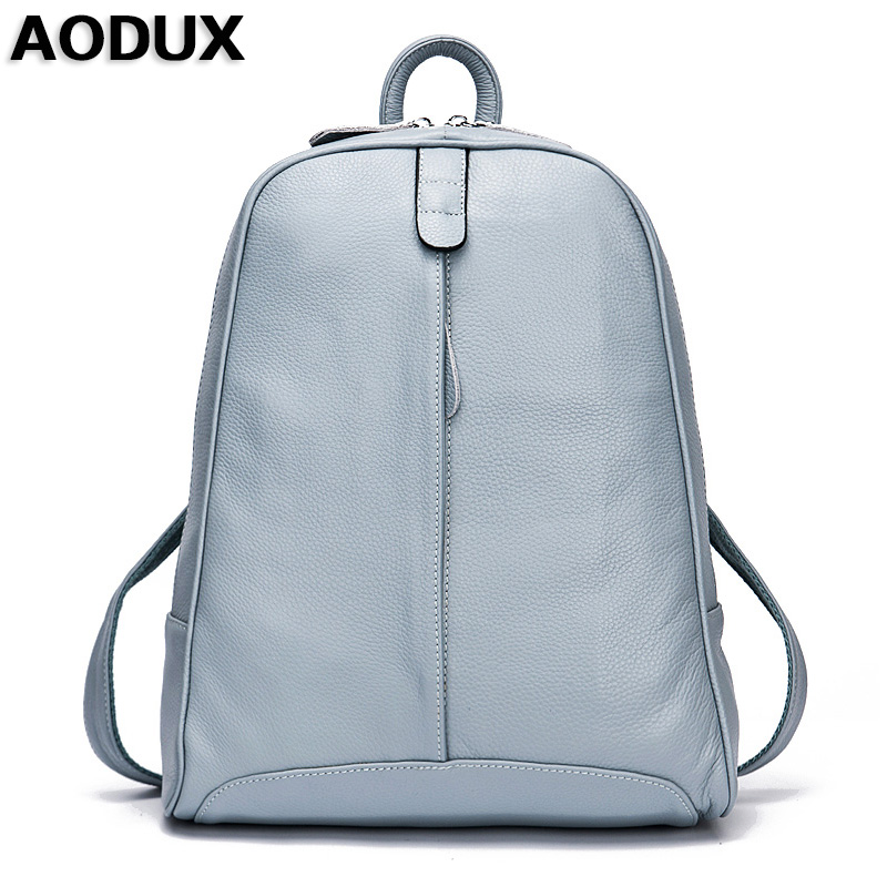 AODUX 100% Genuine Leather Women's Backpack Top Layer Cow Leather School Backpacks Bag Light Blue/Gray/Pink/White/Beige Color