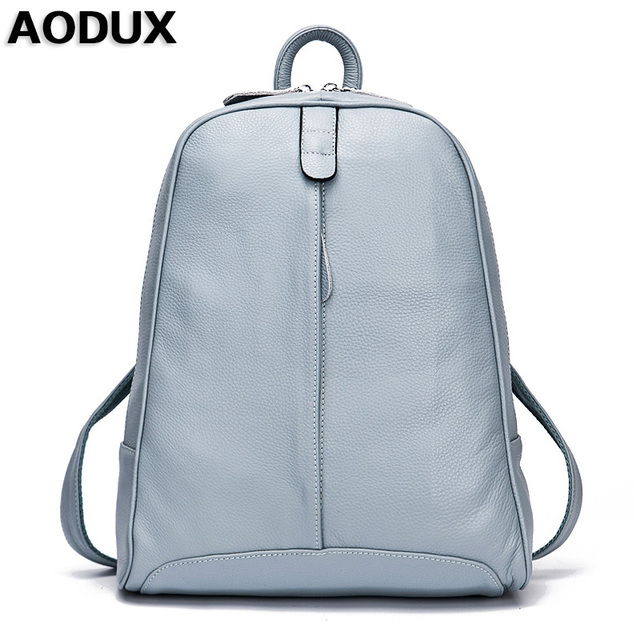 4465ab06b5 AODUX 100% Genuine Leather Women s Backpack Top Layer Cow Leather School Backpacks  Bag Light Blue Gray Pink White Beige Color