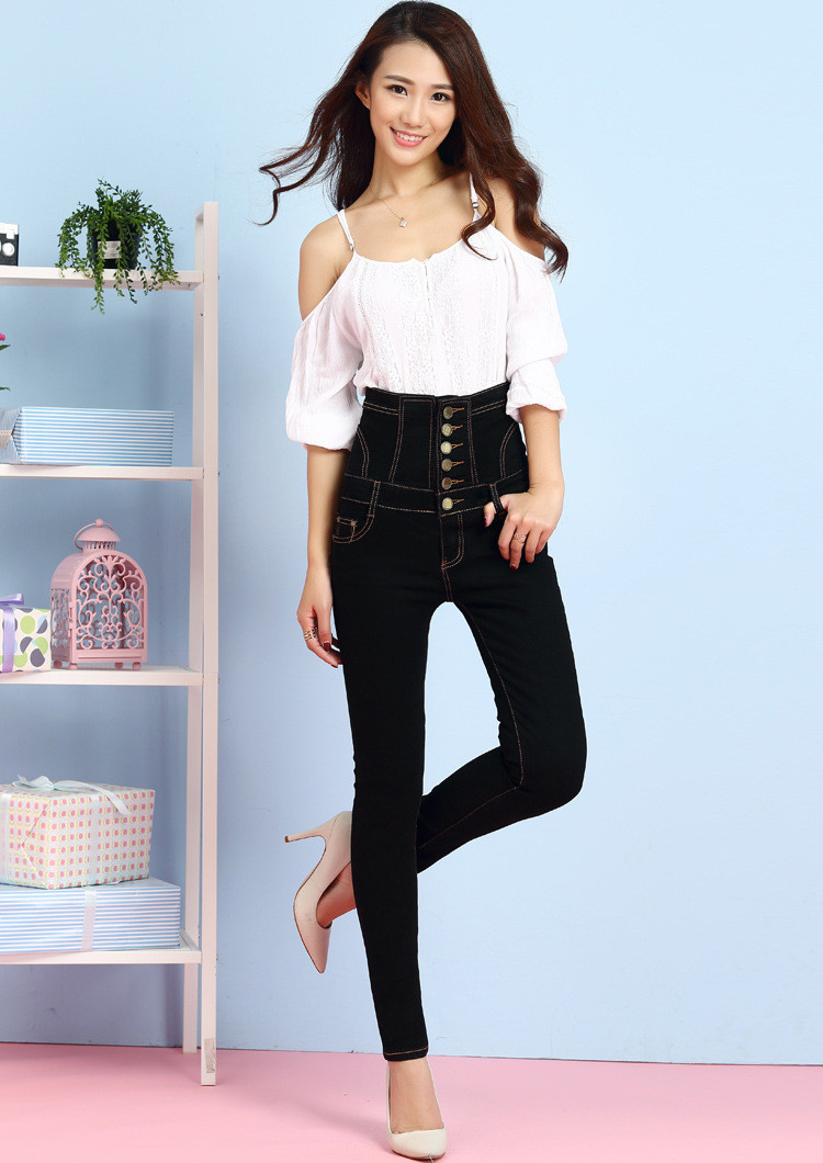 18 Jeans Womens High Waist Black Vintage Denim Long Pencil Pants Plus Size 6XL Woman Jeans Camisa Feminina Lady Fat Trousers 6