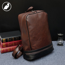 ETONWEAG New 2016 men famous brand Italian leather casual travel school bags brown zipper preppy style vintage laptop backpacks