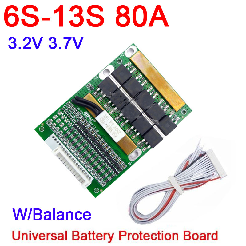 DYKB 6S- 13S 35A 50A 80A W/Balance BMS LiFePO4 Li-ion Lithium Battery Protection 24V 36V 48V 7S 8S 10S 12S Electrical Tool Ups