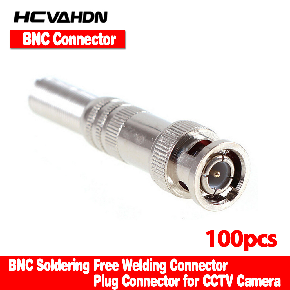 HCVAHDN 100pcs/lot BNC Male Connector for RG-59 Coaxical Cable, Brass End, Crimp, Cable Screwing, CCTV Camera BNC connector bnc straight cable connector 2 pack