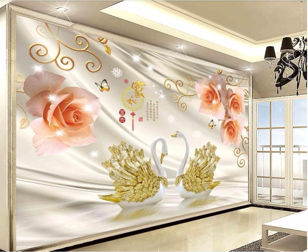 3d Wall Cloth Chinese Silk Custom Photo Mural Romantic Rose Swan Home Improvement Room 3d Print Fabric Decoration Picture