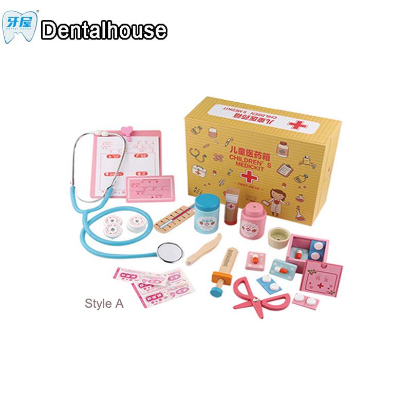 casa de juegos de simulacin de juguetes de madera para nios pequeos mdico dental cajas clsicos
