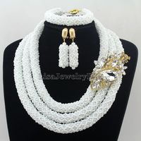 Handmade Statement Necklace Indian African Wedding Jewelry Sets Nigerian Beaded Wedding Bridal Necklace Jewelry Set HD7344