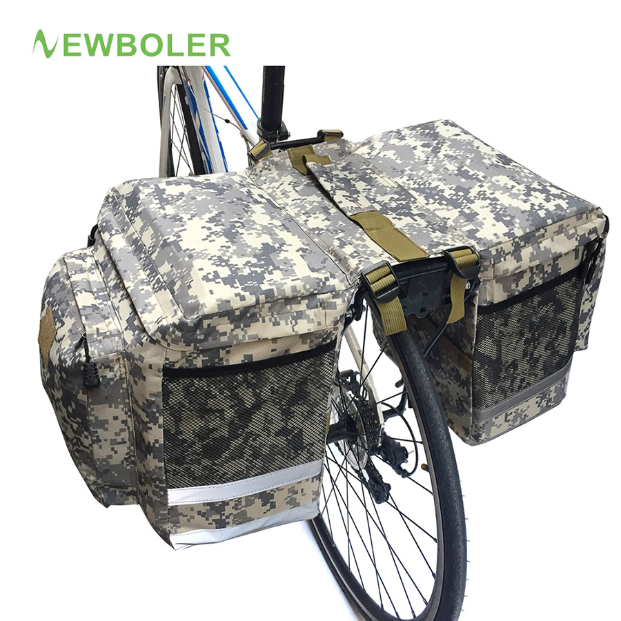 NEWBOLER Cycling Bike Bicycle 43L Rear Bag Camouflage Tail Seat Trunk Pack MTB Rode Bike Travel Storage Box and Waterproof Cover rockbros cycling bike bicycle bag 27l full waterproof travel riding mtb road bike rear bag tail seat pannier rear seat trunk bag