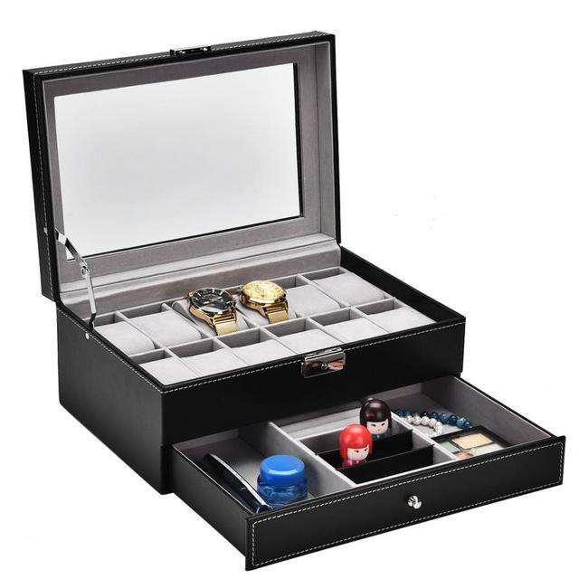 12 Luxury Grids Slots Dual Layers Watch Display Storage Cases Box Dust proof Wood PU Leather Jewelry Watch Organizer Box