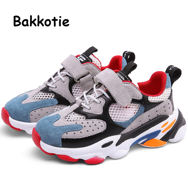 Bakkotie 2019 Kids Autumn Sports Shoes Girls Fashion Mixed Color Sneakers New Baby Boys Mesh Breathable Running Casual Shoes