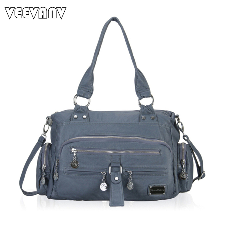 VEEVANV New Washed Leather Tote Bags 2017 Fashion Women Handbags Motorcycle Shoulder Crossbody Bag Women Messenger Bags Ladies women shoulder bags leather handbags shell crossbody bag brand design small single messenger bolsa tote sweet fashion style