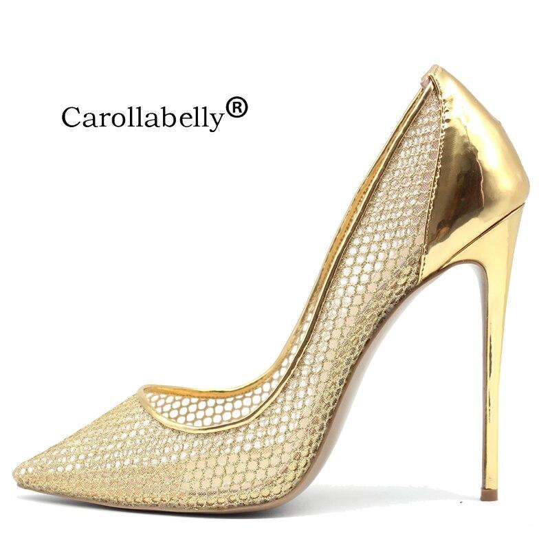 Super High Quality Brand Shoes High Heels Gold Mesh Sexy Stiletto Heels SheepSkin Big Size Woman Wedding Party Shoes Black 33 45