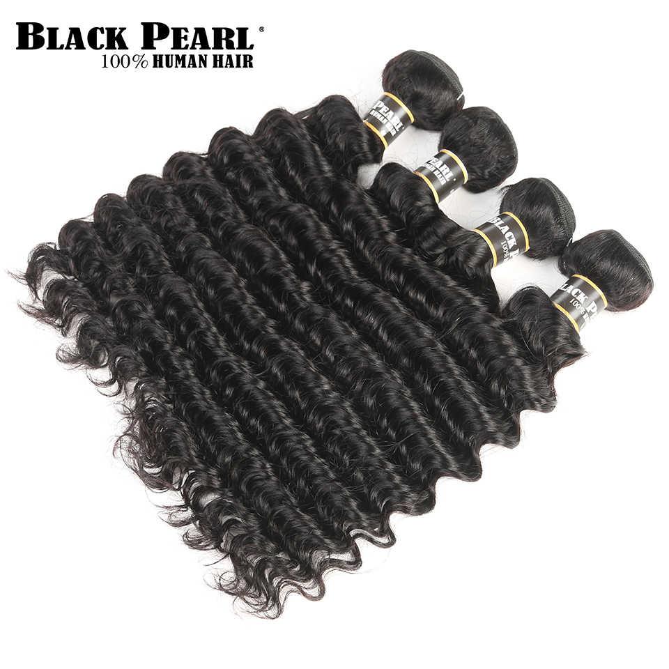 Paquetes de pelo brasileño de onda profunda precoloreada Perla Negra paquetes de cabello humano 4 extensiones de cabello sin procesar 400g no reumáticas