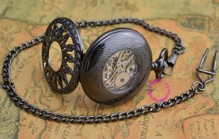 wholesale price good quality new antique classical black sun flower mechanical pocket watch hour with chain hour