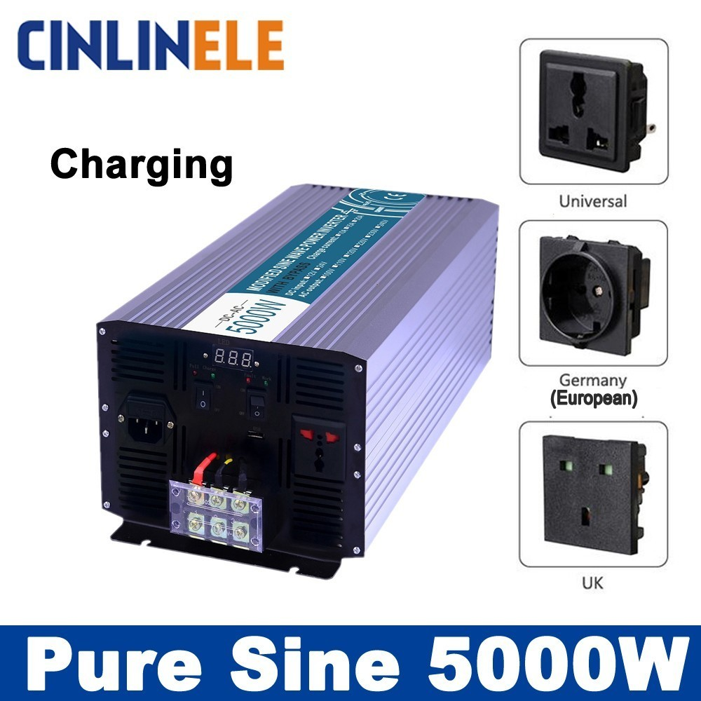 Smart Inverters Charger 5000W Pure Sine Wave Inverters CLP5000A DC 12V 24V 48V to AC 110V 220V 5000W Surge Power 10000W 5000w dc 48v to ac 110v charger modified sine wave iverter ied digitai dispiay ce rohs china 5000 481g c ups