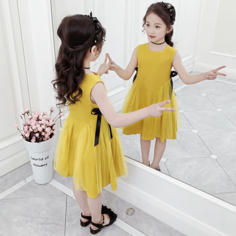 CROAL CHERIE Yellow Party Princess Dress Girl Summer Kids Dresses for Girl Costume Fashion Children Girls Clothing Bow Dress  (4)