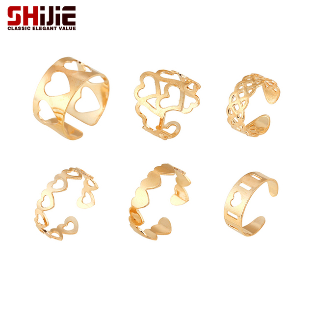 SHIJIE Lovely Gold color Rings Set for Women Hollow Heart Ring