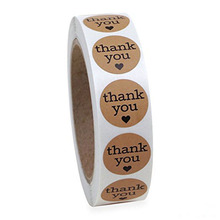 500pcs Natural Kraft Thank You Stickers With Hearts Appreciation Labels 1 Inch Adhesive for Birthday you Envelop