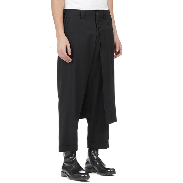 Double men's trouser skirt pants and nine-point tapered bobbin trousers, deconstructed vertical cut yohji spring pants.  S-9XL!! 3