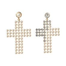Baroque Drop Earrings For Women Clothing Accessories Vintage Statement Big Gold Metal Pearl Cross Jewelry