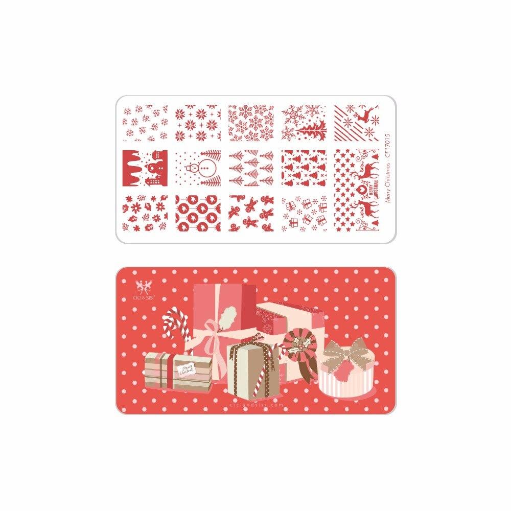 CICI & SISI Frohe Weihnachten Maniküre Stil Nail art Stamping Platten Stamping Stempel Vorlage