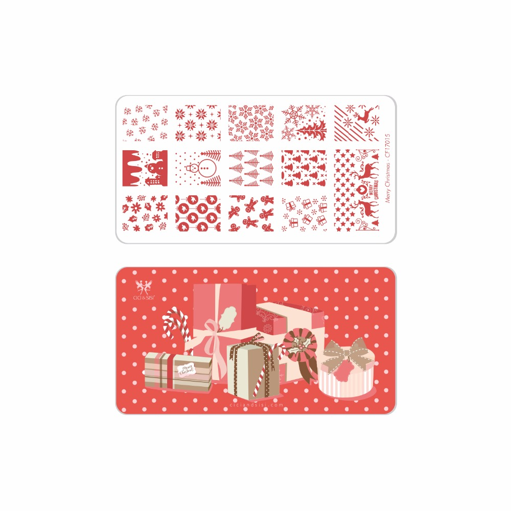 CICI&SISI Merry Christmas Manicure Style Nail Art Stamping Plates Stamping Stamp Template цена